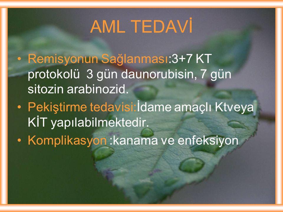 AML TEDAVİ Remisyonun Sağlanması:3+7 KT protokolü 3 gün daunorubisin, 7 gün sitozin arabinozid. Pekiştirme tedavisi:İdame amaçlı Ktveya KİT yapılabilm