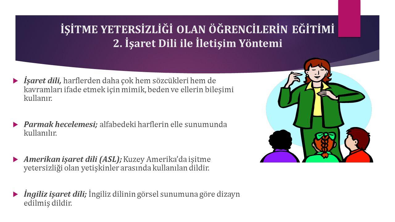 İŞİTME YETERSİZLİĞİ OLAN ÖĞRENCİLERİN EĞİTİMİ 2.