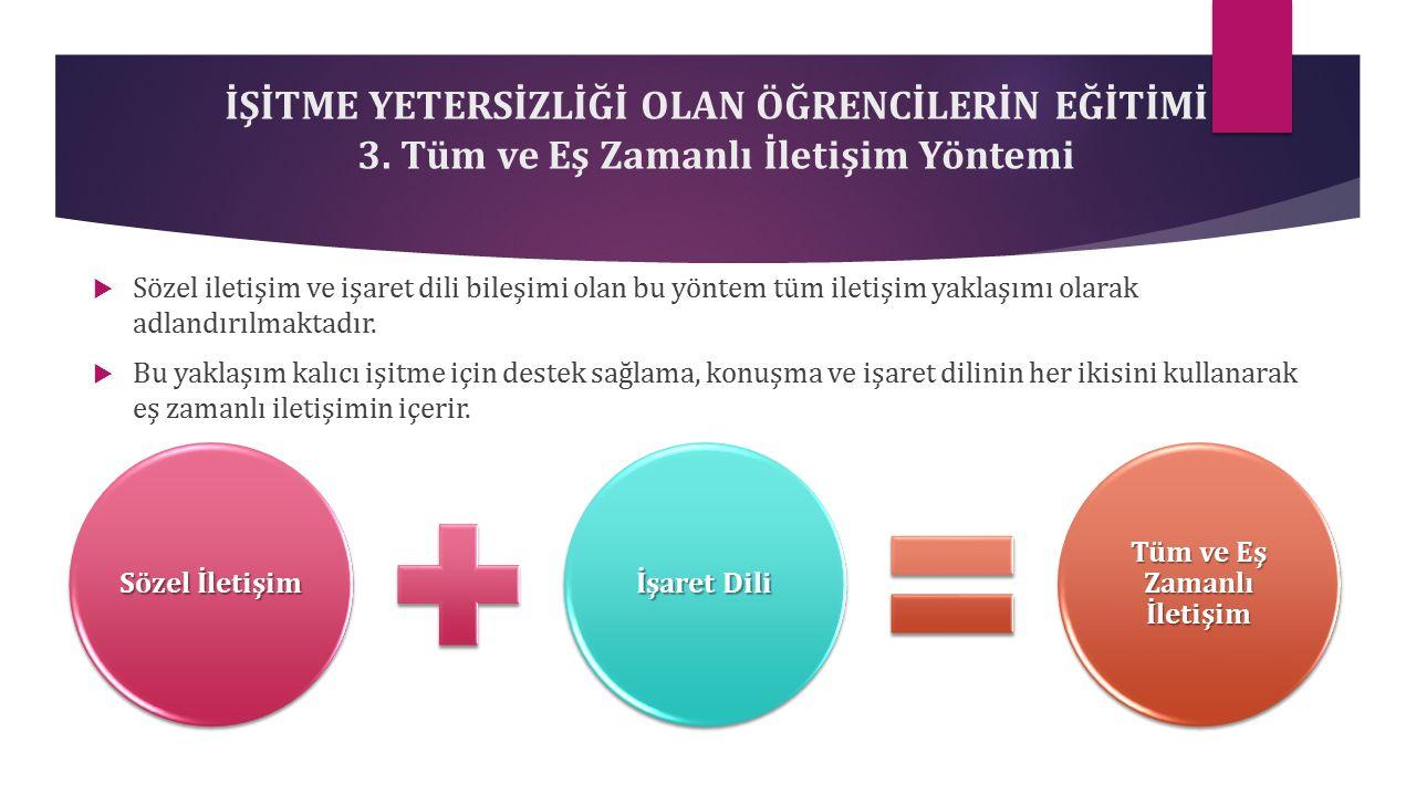 İŞİTME YETERSİZLİĞİ OLAN ÖĞRENCİLERİN EĞİTİMİ 3.