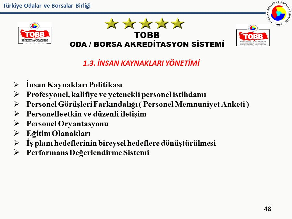 Türkiye Odalar ve Borsalar Birliği TOBB ODA / BORSA AKREDİTASYON SİSTEMİ 48 1.3. İNSAN KAYNAKLARI YÖNETİMİ  İnsan Kaynakları Politikası  Profesyonel