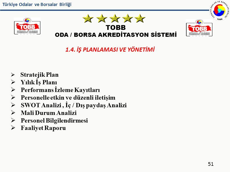 Türkiye Odalar ve Borsalar Birliği TOBB ODA / BORSA AKREDİTASYON SİSTEMİ 51 1.4. İŞ PLANLAMASI VE YÖNETİMİ  Stratejik Plan  Yılık İş Planı  Perform