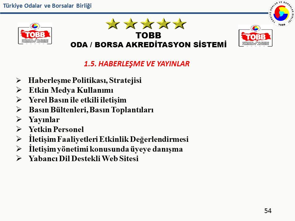 Türkiye Odalar ve Borsalar Birliği TOBB ODA / BORSA AKREDİTASYON SİSTEMİ 54 1.5. HABERLEŞME VE YAYINLAR  Haberleşme Politikası, Stratejisi  Etkin Me