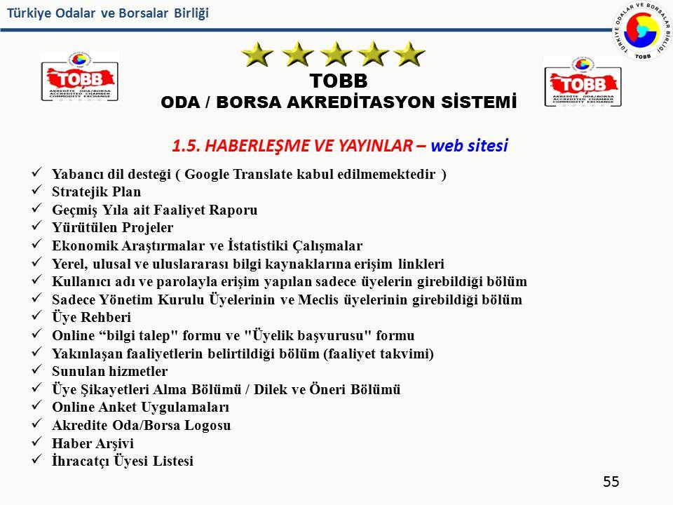 Türkiye Odalar ve Borsalar Birliği TOBB ODA / BORSA AKREDİTASYON SİSTEMİ 55 1.5. HABERLEŞME VE YAYINLAR – web sitesi Yabancı dil desteği ( Google Tran