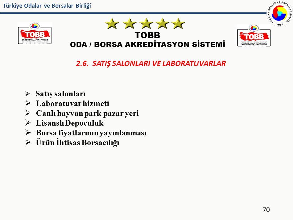 Türkiye Odalar ve Borsalar Birliği TOBB ODA / BORSA AKREDİTASYON SİSTEMİ 70 2.6. SATIŞ SALONLARI VE LABORATUVARLAR  Satış salonları  Laboratuvar hiz