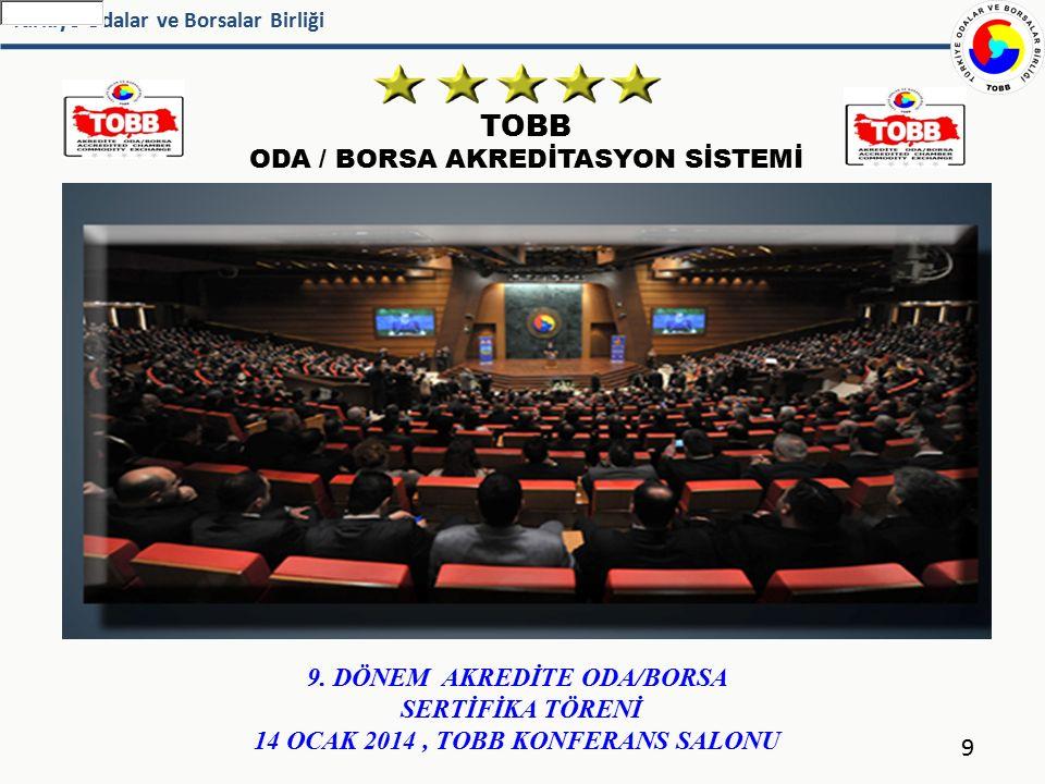 Türkiye Odalar ve Borsalar Birliği TOBB ODA / BORSA AKREDİTASYON SİSTEMİ 9 9. DÖNEM AKREDİTE ODA/BORSA SERTİFİKA TÖRENİ 14 OCAK 2014, TOBB KONFERANS S