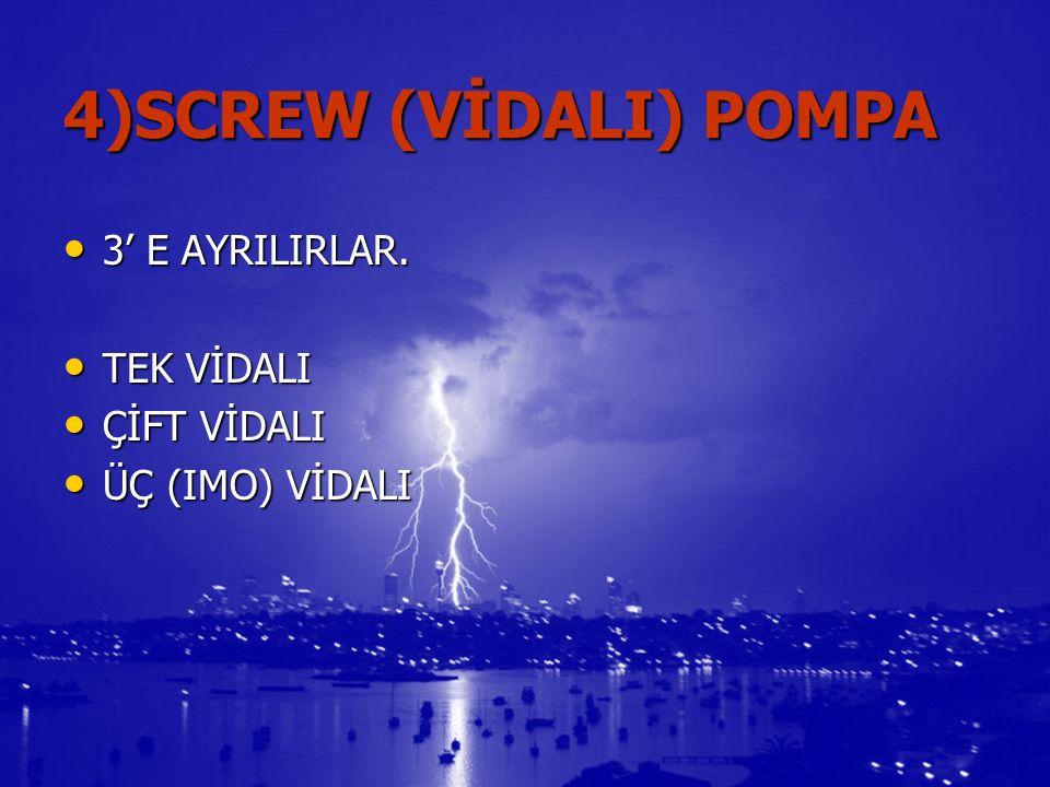 4)SCREW (VİDALI) POMPA 3' E AYRILIRLAR. 3' E AYRILIRLAR.