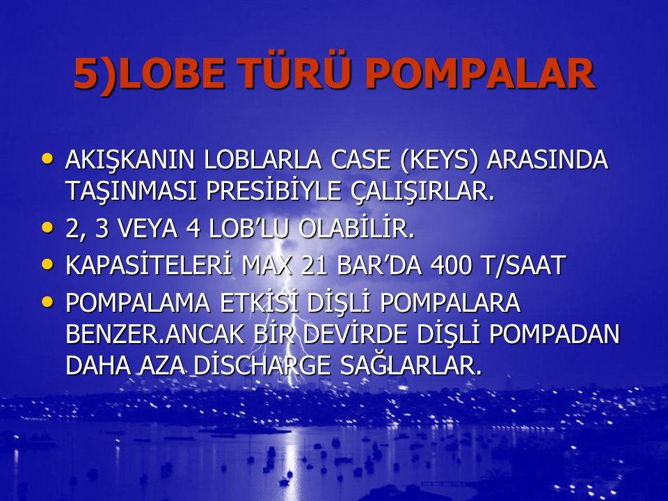 5)LOBE TÜRÜ POMPALAR AKIŞKANIN LOBLARLA CASE (KEYS) ARASINDA TAŞINMASI PRESİBİYLE ÇALIŞIRLAR.