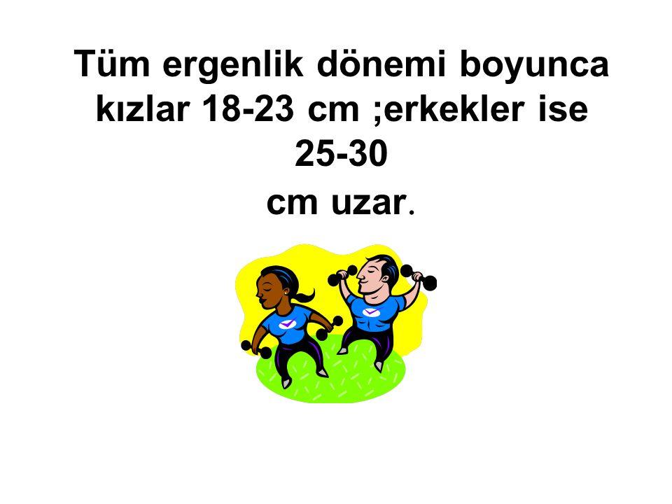 Tüm ergenlik dönemi boyunca kızlar 18-23 cm ;erkekler ise 25-30 cm uzar.