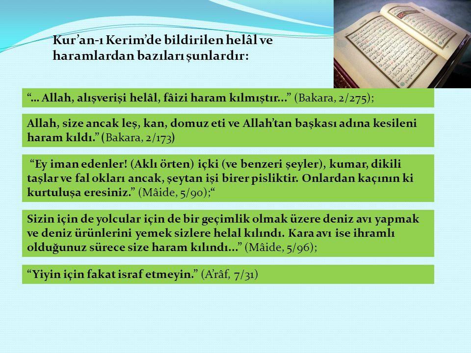 """Kur'an-ı Kerim'de bildirilen helâl ve haramlardan bazıları şunlardır: """"… Allah, alışverişi helâl, fâizi haram kılmıştır..."""" (Bakara, 2/275); Allah, si"""