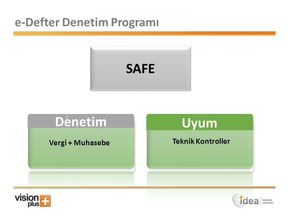 Denetim Vergi + Muhasebe e-Defter Denetim Programı Uyum Teknik Kontroller SAFE
