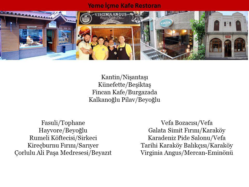 Kültür-Sanat Mekanları İndigo/Beyoğlu 2.Kat Tiyatro/Karaköy Pera Müzesi/Tepebaşı Karakutu Tiyatro/Tünel Koç Müzesi/Halıcıoğlu Sabancı Müzesi/Emirgan Nardiss Jazz Clup/Galata İstanbulModern/Tophane Kumbaracı 50 Tiyatro/Beyoğlu Salt Galata-Sanat Galerisi/Galata İstanbul Oyuncak Müzesi/Göztepe Sahne/Kadıköy Oyun Atölyesi/Kadıköy