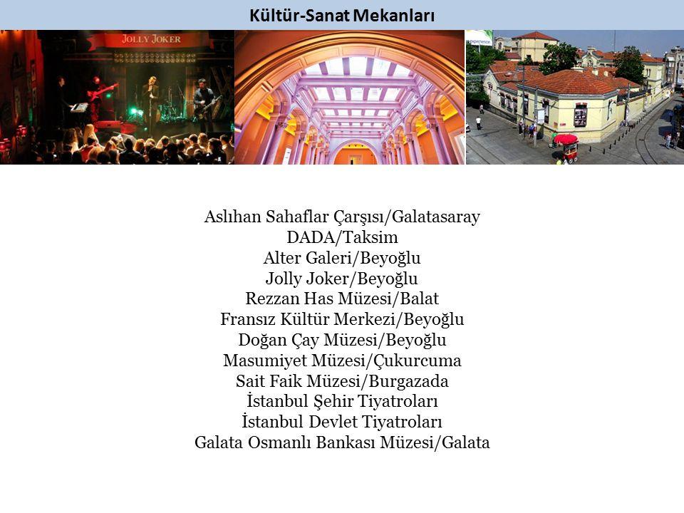 Kültür-Sanat Mekanları Aslıhan Sahaflar Çarşısı/Galatasaray DADA/Taksim Alter Galeri/Beyoğlu Jolly Joker/Beyoğlu Rezzan Has Müzesi/Balat Fransız Kültü