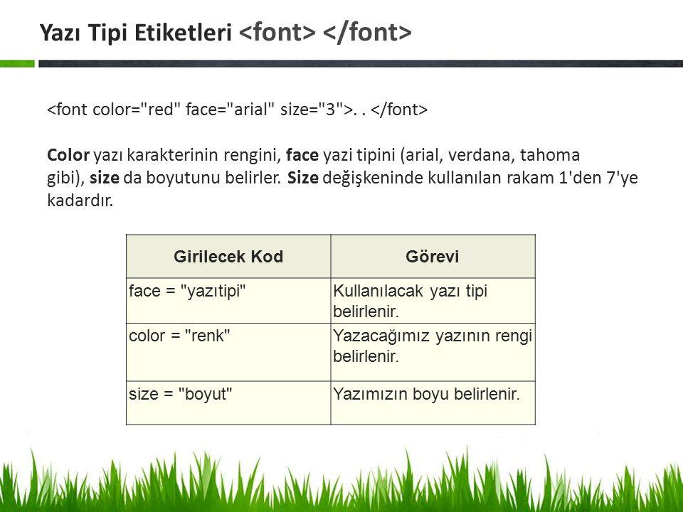 .. Color yazı karakterinin rengini, face yazi tipini (arial, verdana, tahoma gibi), size da boyutunu belirler. Size değişkeninde kullanılan rakam 1'de