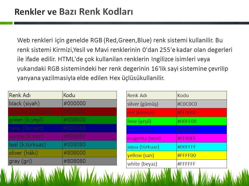 Renkler ve Bazı Renk Kodları Web renkleri için genelde RGB (Red,Green,Blue) renk sistemi kullanilir. Bu renk sistemi Kirmizi,Yesil ve Mavi renklerinin