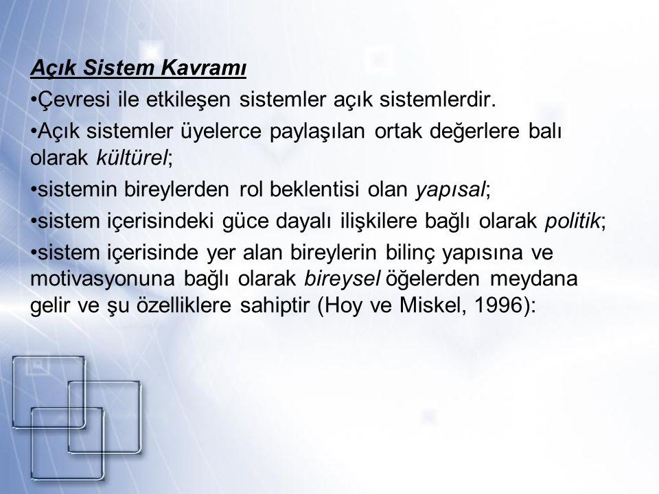 Açık Sistem Kavramının Özellikleri 1.