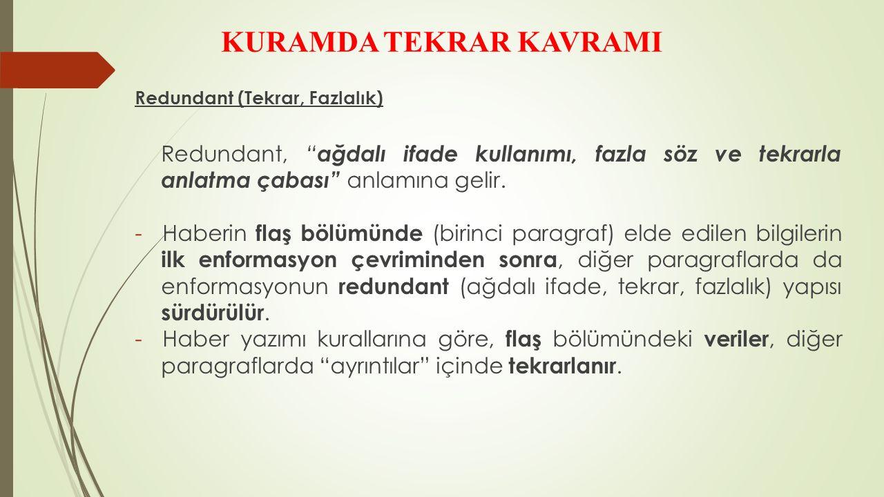 KURAMDA TEKRAR KAVRAMI Redundant (Tekrar, Fazlalık) Redundant, ağdalı ifade kullanımı, fazla söz ve tekrarla anlatma çabası anlamına gelir.