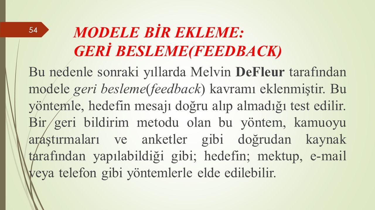 Bu nedenle sonraki yıllarda Melvin DeFleur tarafından modele geri besleme(feedback) kavramı eklenmiştir.