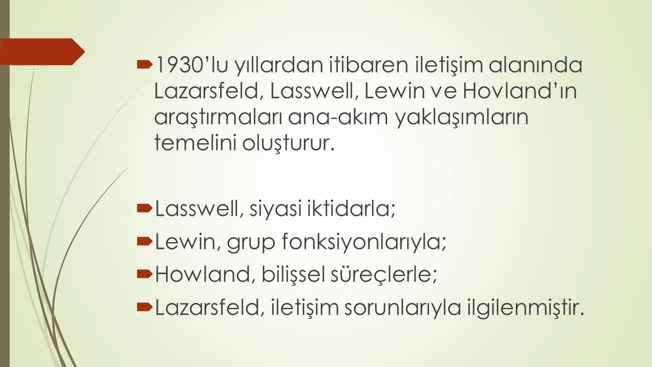  1930'lu yıllardan itibaren iletişim alanında Lazarsfeld, Lasswell, Lewin ve Hovland'ın araştırmaları ana-akım yaklaşımların temelini oluşturur.  La