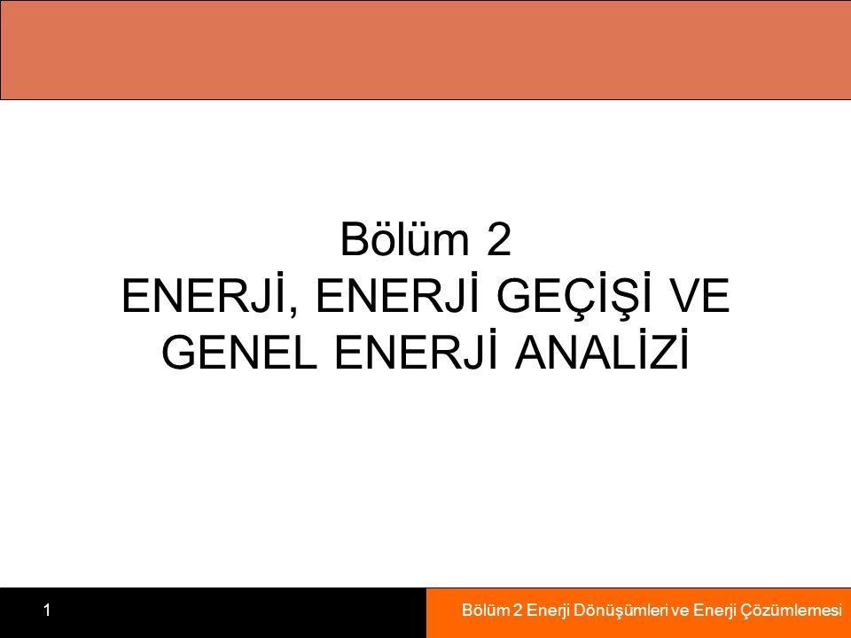Bölüm 2 Enerji Dönüşümleri ve Enerji Çözümlemesi1 Bölüm 2 ENERJİ, ENERJİ GEÇİŞİ VE GENEL ENERJİ ANALİZİ