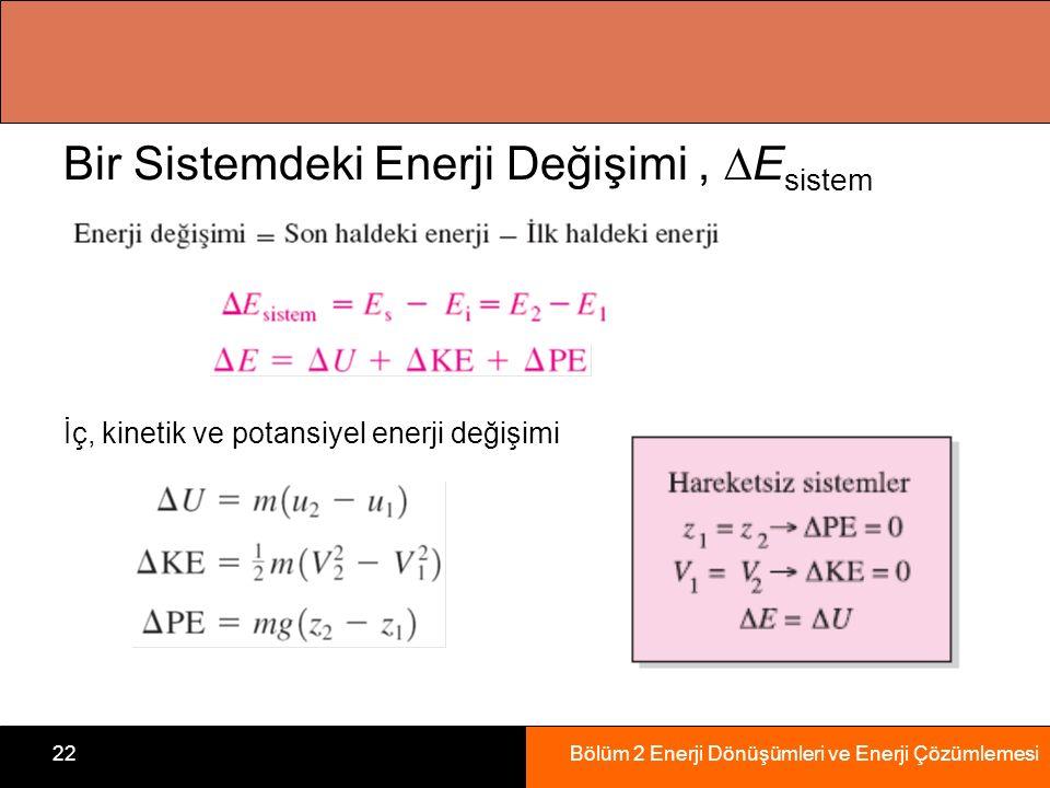Bölüm 2 Enerji Dönüşümleri ve Enerji Çözümlemesi22 Bir Sistemdeki Enerji Değişimi,  E sistem İç, kinetik ve potansiyel enerji değişimi