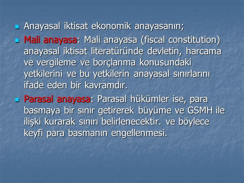 Anayasal iktisat ekonomik anayasanın; Anayasal iktisat ekonomik anayasanın; Mali anayasa: Mali anayasa (fiscal constitution) anayasal iktisat literatü