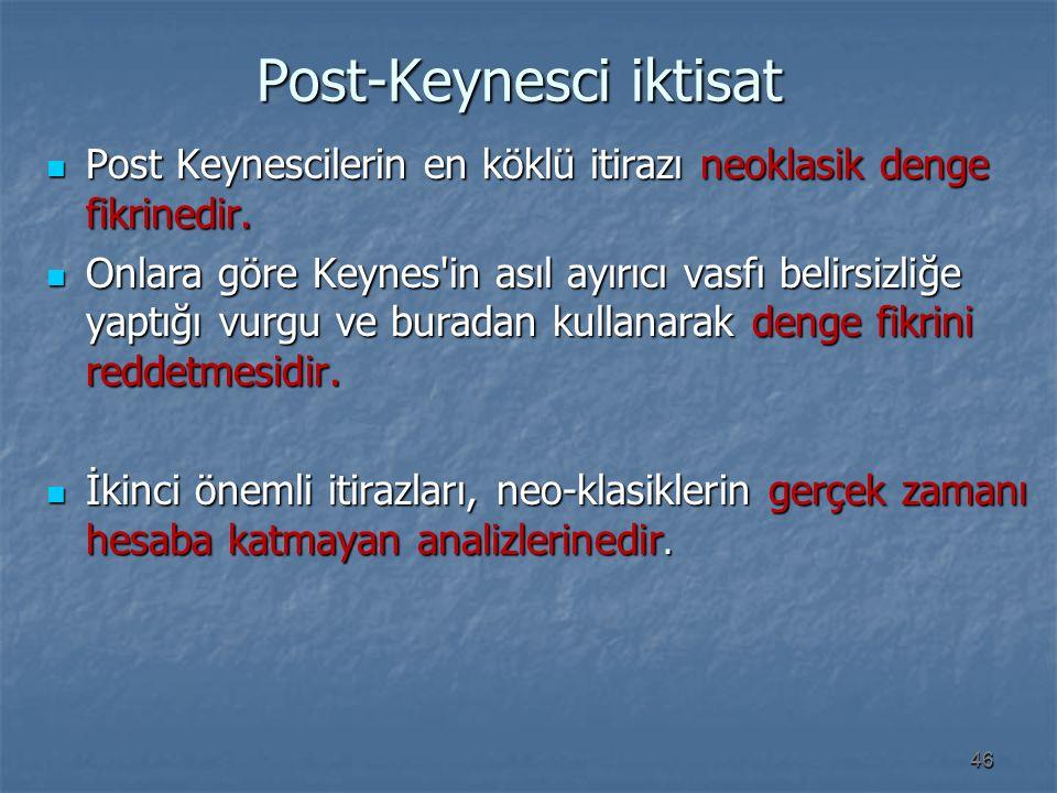 Post-Keynesci iktisat Post-Keynesci iktisat Post Keynescilerin en köklü itirazı neoklasik denge fikrinedir. Post Keynescilerin en köklü itirazı neokla