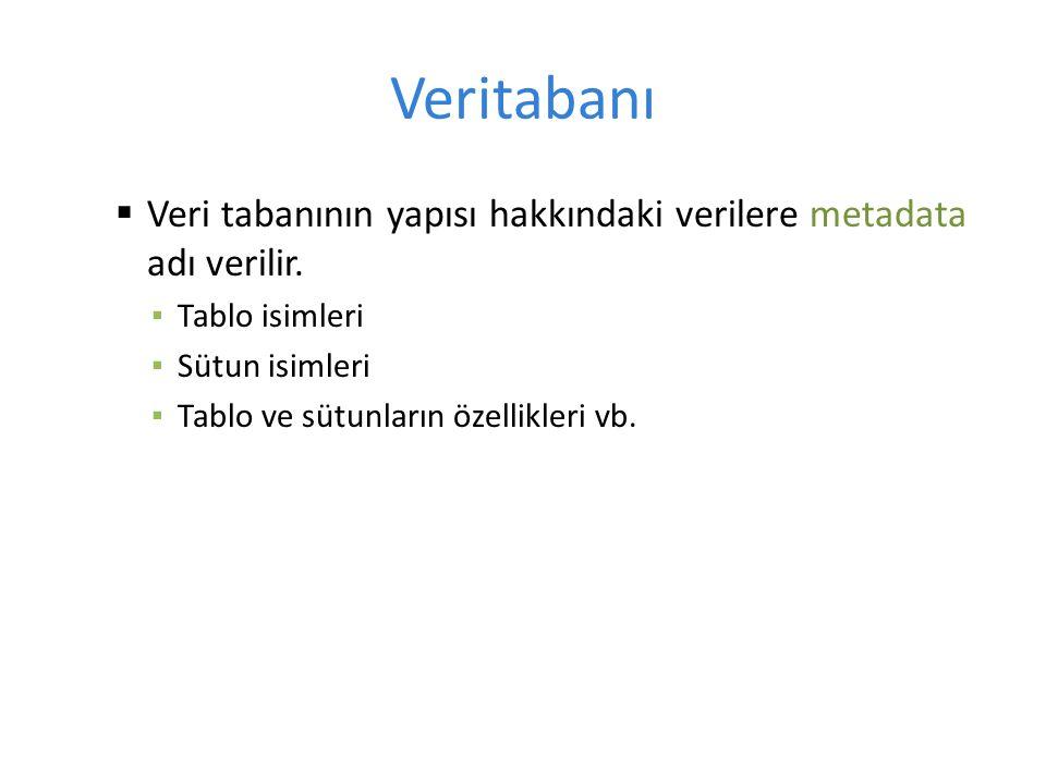 Veritabanı  Veri tabanının yapısı hakkındaki verilere metadata adı verilir.