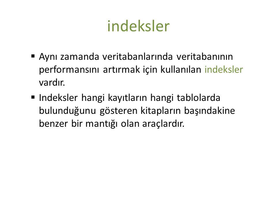 indeksler  Aynı zamanda veritabanlarında veritabanının performansını artırmak için kullanılan indeksler vardır.  Indeksler hangi kayıtların hangi ta