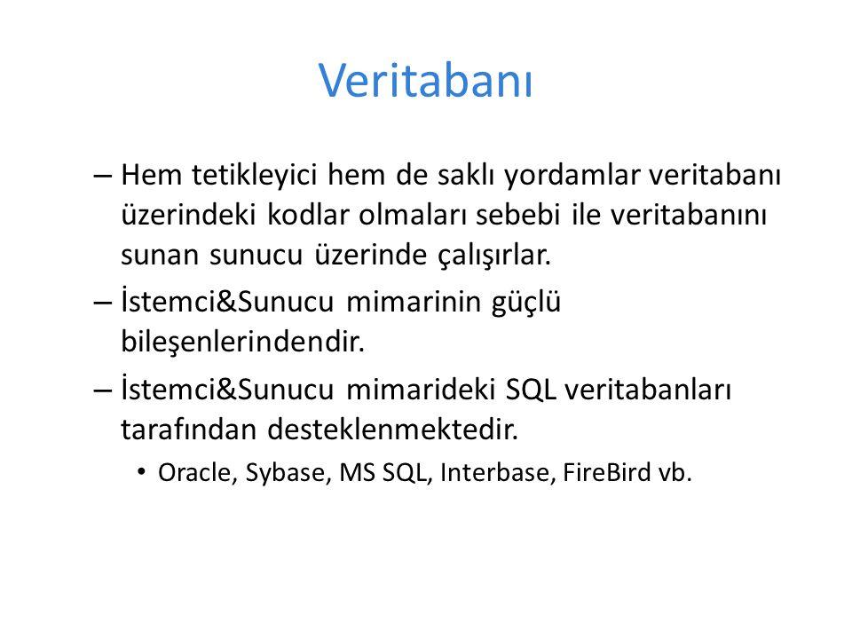 Veritabanı – Hem tetikleyici hem de saklı yordamlar veritabanı üzerindeki kodlar olmaları sebebi ile veritabanını sunan sunucu üzerinde çalışırlar.