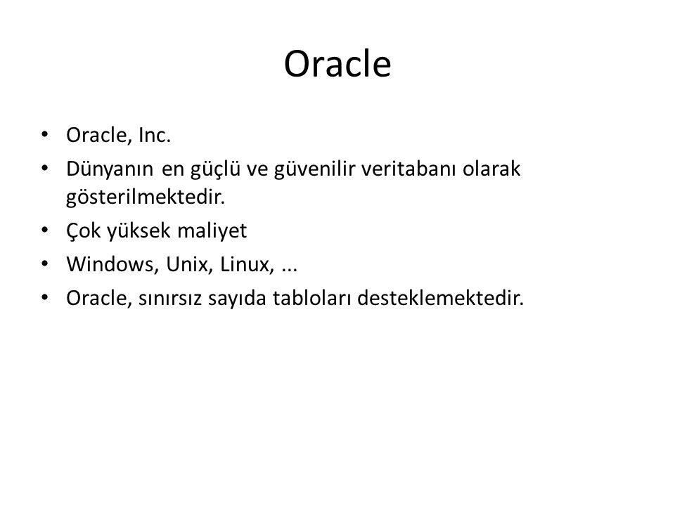 Oracle Oracle, Inc. Dünyanın en güçlü ve güvenilir veritabanı olarak gösterilmektedir. Çok yüksek maliyet Windows, Unix, Linux,... Oracle, sınırsız sa