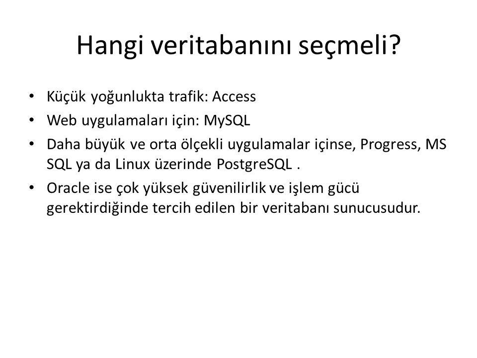 Hangi veritabanını seçmeli? Küçük yoğunlukta trafik: Access Web uygulamaları için: MySQL Daha büyük ve orta ölçekli uygulamalar içinse, Progress, MS S