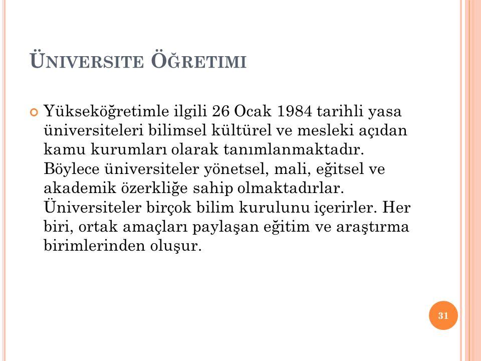 Ü NIVERSITE Ö ĞRETIMI Yükseköğretimle ilgili 26 Ocak 1984 tarihli yasa üniversiteleri bilimsel kültürel ve mesleki açıdan kamu kurumları olarak tanımlanmaktadır.