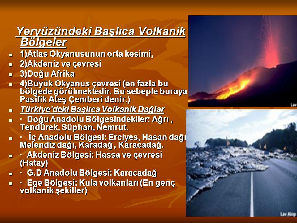 Yeryüzündeki Başlıca Volkanik Bölgeler Yeryüzündeki Başlıca Volkanik Bölgeler 1)Atlas Okyanusunun orta kesimi, 1)Atlas Okyanusunun orta kesimi, 2)Akde
