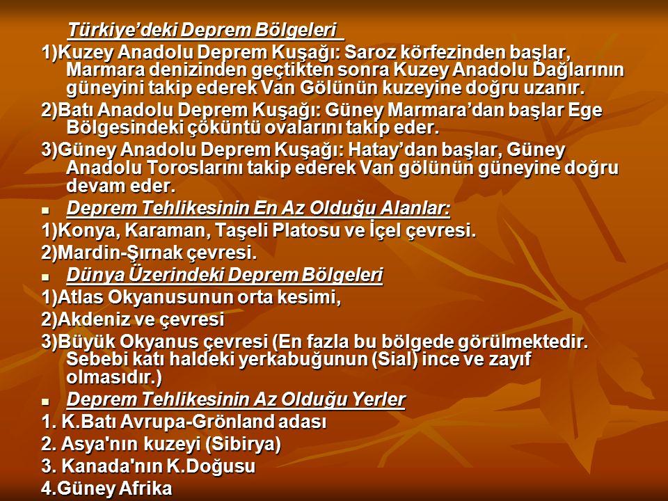 Türkiye'deki Deprem Bölgeleri Türkiye'deki Deprem Bölgeleri 1)Kuzey Anadolu Deprem Kuşağı: Saroz körfezinden başlar, Marmara denizinden geçtikten sonr