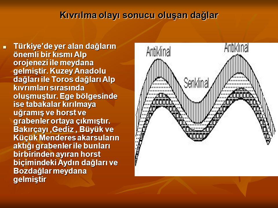 Kıvrılma olayı sonucu oluşan dağlar Türkiye'de yer alan dağların önemli bir kısmı Alp orojenezi ile meydana gelmiştir. Kuzey Anadolu dağları ile Toros