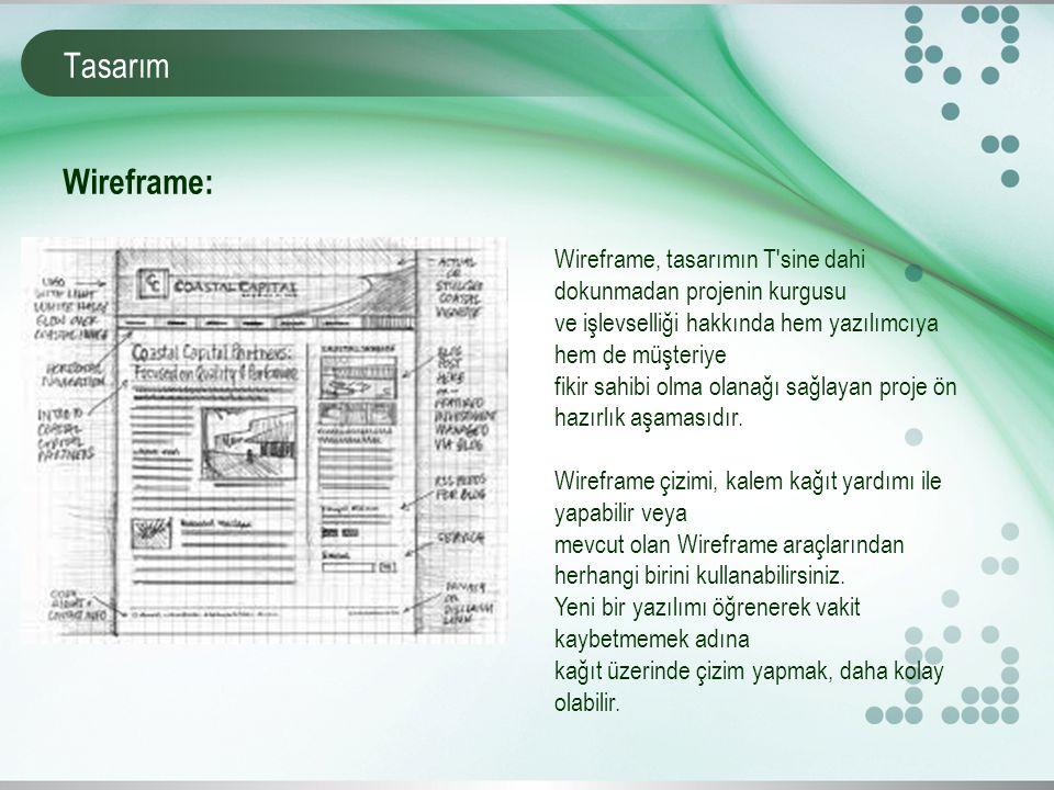 Tasarım Wireframe, tasarımın T sine dahi dokunmadan projenin kurgusu ve işlevselliği hakkında hem yazılımcıya hem de müşteriye fikir sahibi olma olanağı sağlayan proje ön hazırlık aşamasıdır.