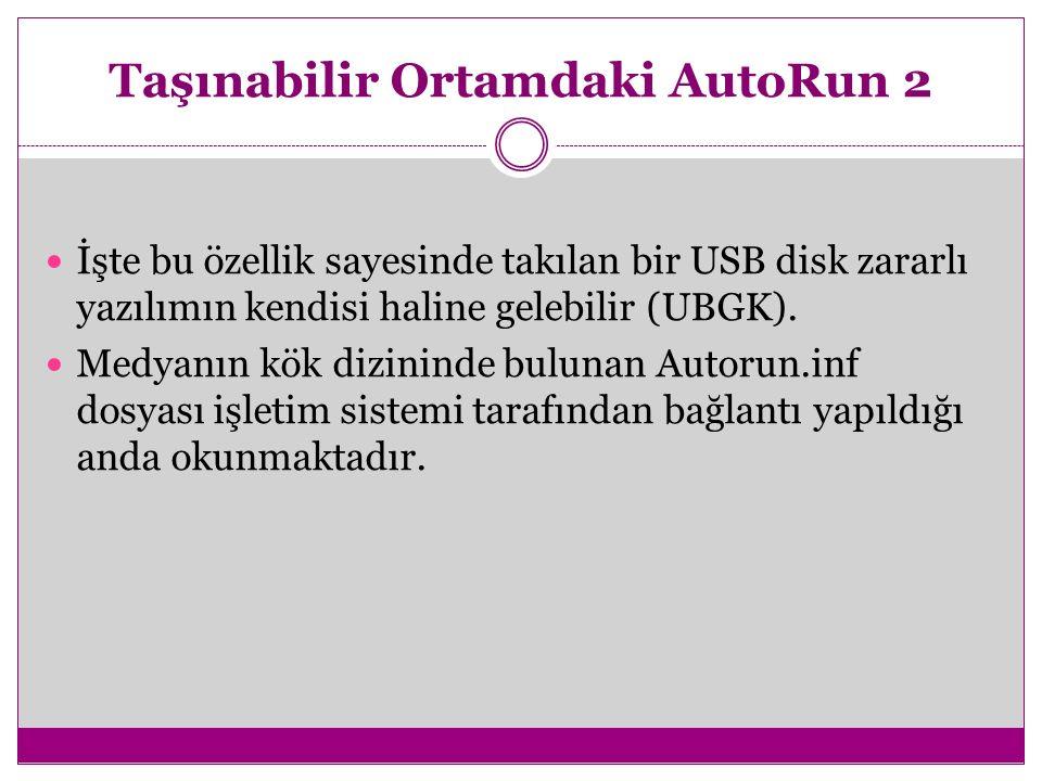 Taşınabilir Ortamdaki AutoRun 2 İşte bu özellik sayesinde takılan bir USB disk zararlı yazılımın kendisi haline gelebilir (UBGK). Medyanın kök dizinin