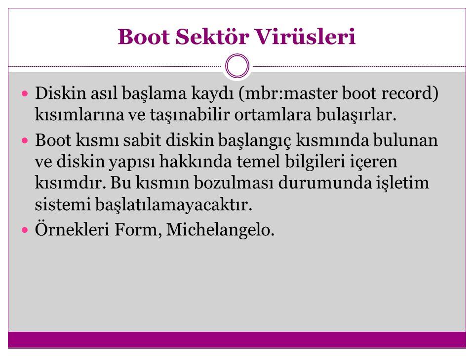 Boot Sektör Virüsleri Diskin asıl başlama kaydı (mbr:master boot record) kısımlarına ve taşınabilir ortamlara bulaşırlar. Boot kısmı sabit diskin başl
