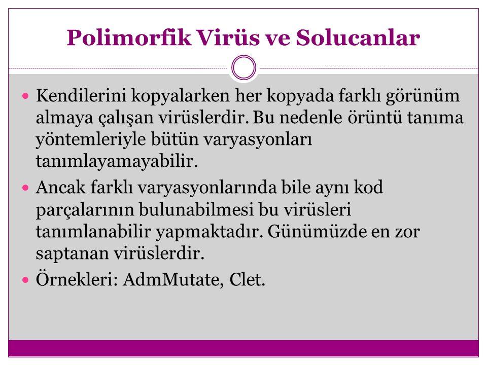 Polimorfik Virüs ve Solucanlar Kendilerini kopyalarken her kopyada farklı görünüm almaya çalışan virüslerdir. Bu nedenle örüntü tanıma yöntemleriyle b