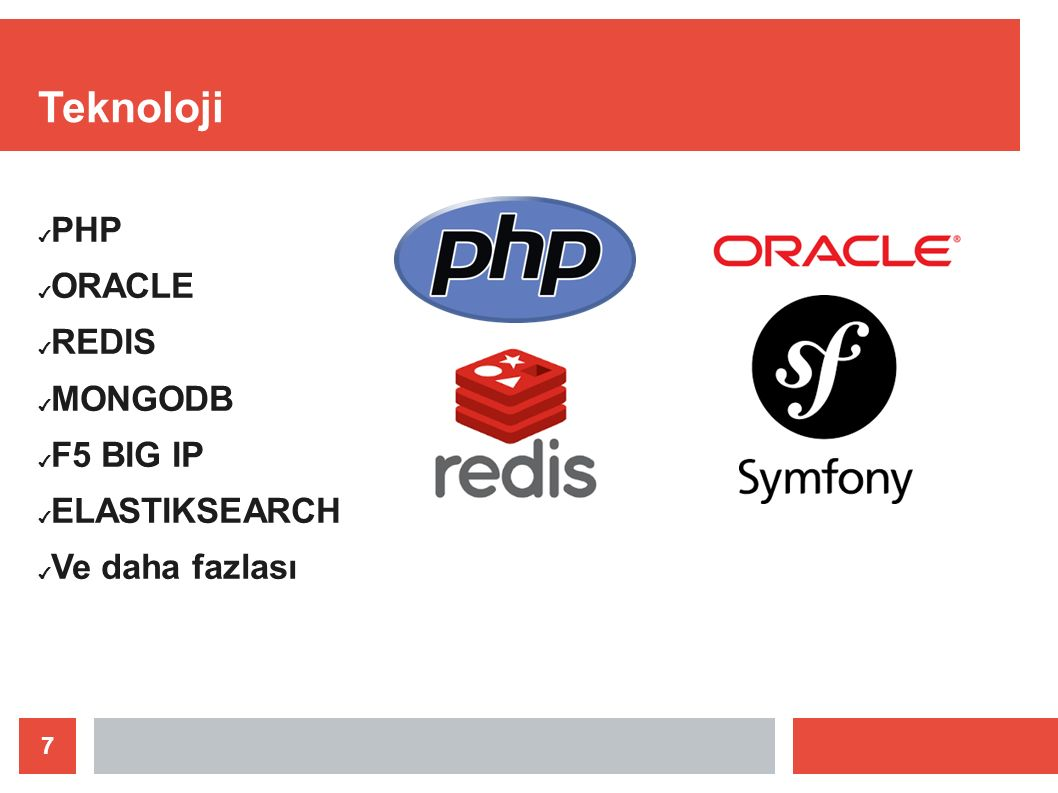 8 Teknoloji ✔ 20 den fazla uygulama sunucusu ✔ 4 Instance yedekli veritabanı ✔ Ayrılmış oturum sunucusu ✔ 2 Log sunucusu ✔ 1 Loadbalancer(Yük Dengeleyici)