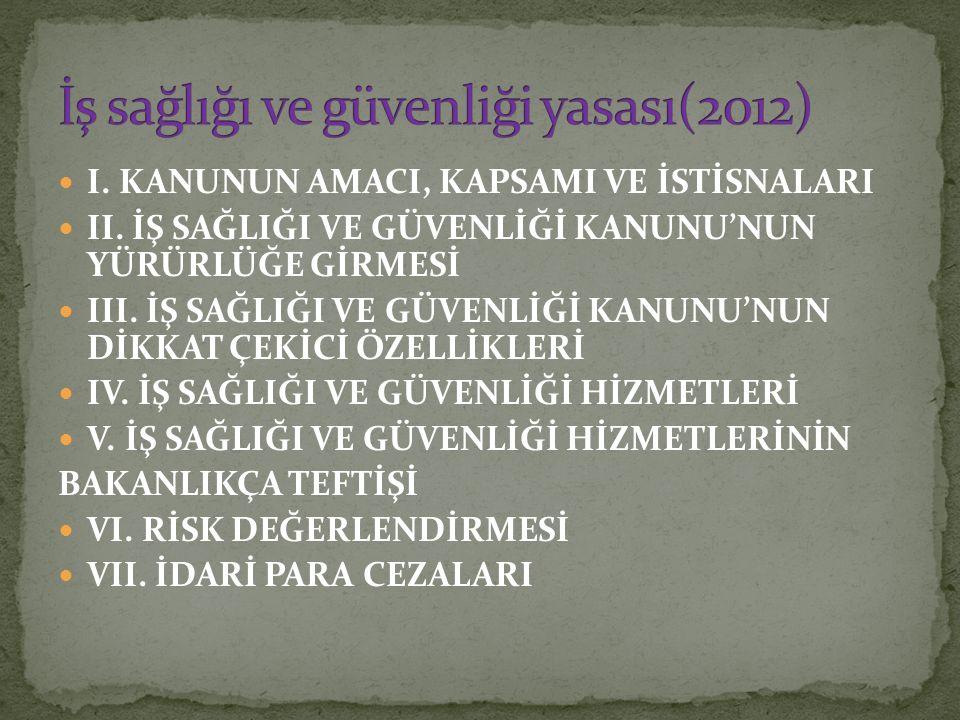I.KANUNUN AMACI, KAPSAMI VE İSTİSNALARI II.