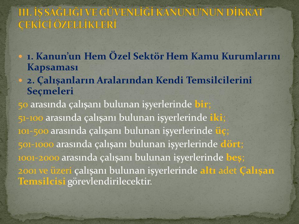 1.Kanun'un Hem Özel Sektör Hem Kamu Kurumlarını Kapsaması 2.