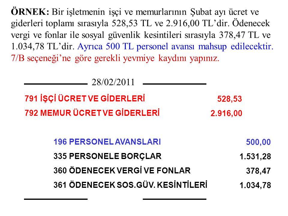 ÖRNEK: Bir işletmenin işçi ve memurlarının Şubat ayı ücret ve giderleri toplamı sırasıyla 528,53 TL ve 2.916,00 TL'dir. Ödenecek vergi ve fonlar ile s