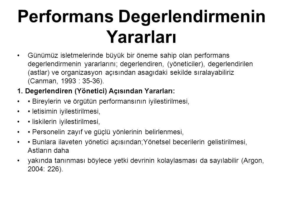 Performans Degerlendirmenin Yararları Günümüz isletmelerinde büyük bir öneme sahip olan performans degerlendirmenin yararlarını; degerlendiren, (yönet