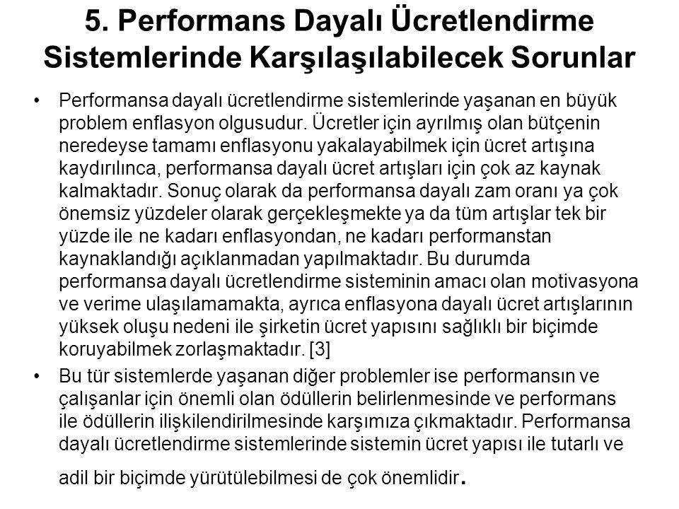 5. Performans Dayalı Ücretlendirme Sistemlerinde Karşılaşılabilecek Sorunlar Performansa dayalı ücretlendirme sistemlerinde yaşanan en büyük problem e