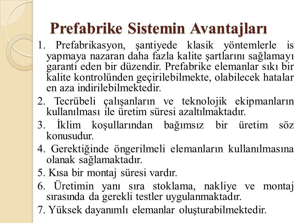 Prefabrike Sistemin Avantajları 1.