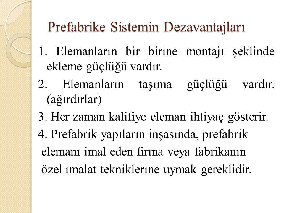 Prefabrike Sistemin Dezavantajları 1.
