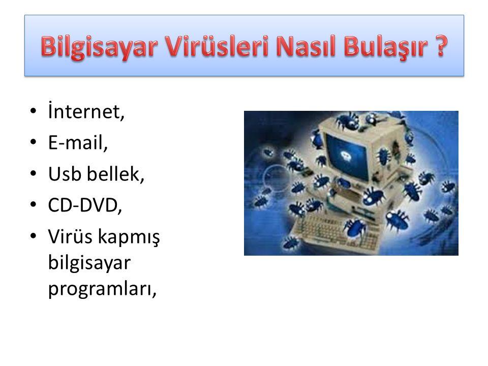 İnternet, E-mail, Usb bellek, CD-DVD, Virüs kapmış bilgisayar programları,