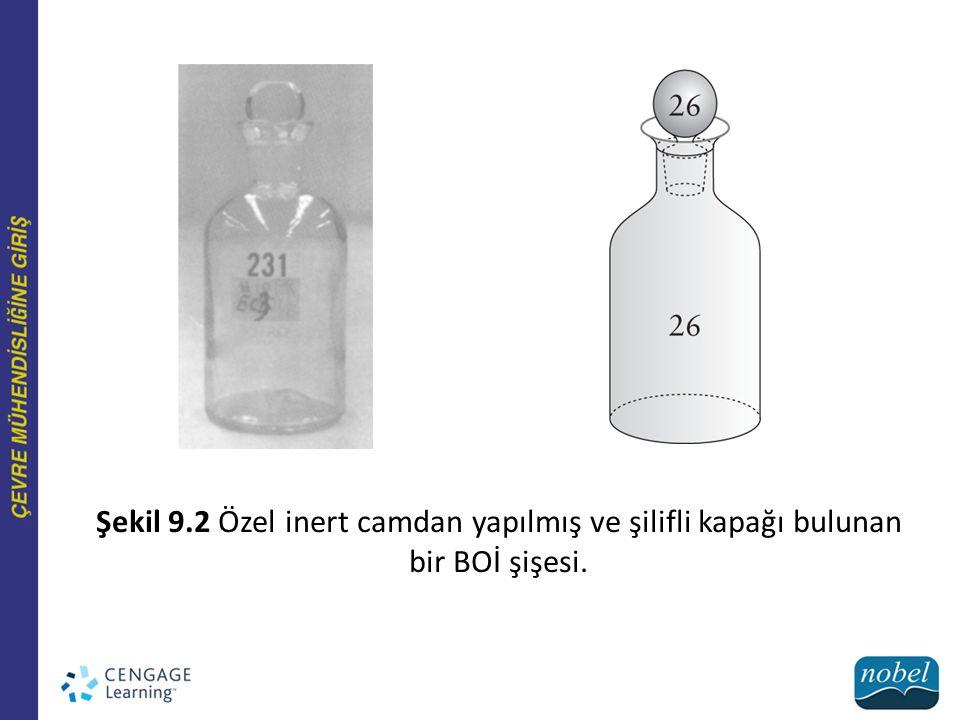 Şekil 9.2 Özel inert camdan yapılmış ve şilifli kapağı bulunan bir BOİ şişesi.