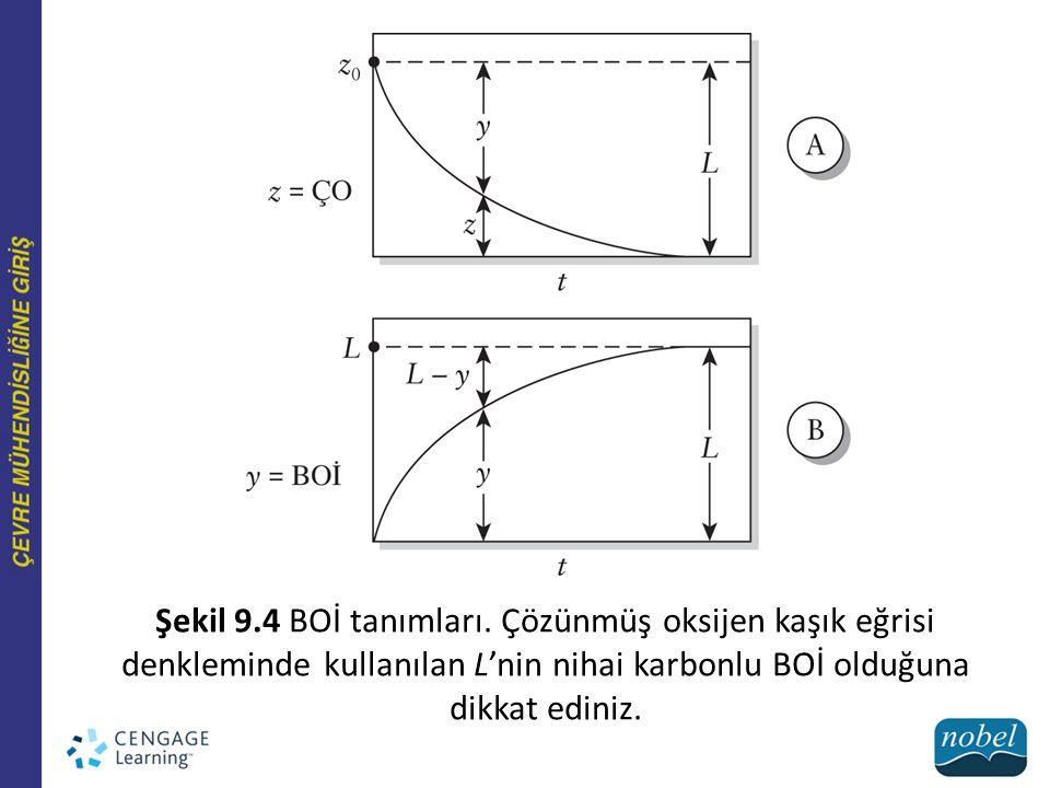 Şekil 9.4 BOİ tanımları. Çözünmüş oksijen kaşık eğrisi denkleminde kullanılan L'nin nihai karbonlu BOİ olduğuna dikkat ediniz.